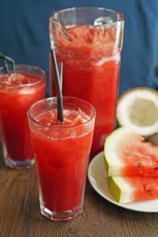 Арбузный лимонад с кокосовой водой, пошаговый фото рецепт, кулинарный блог
