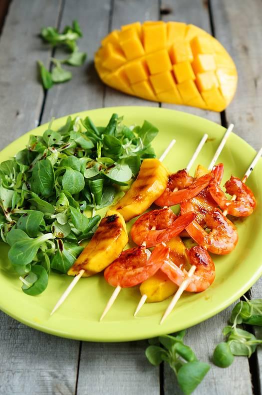 Шашлычки с манго и креветками, пошаговый фото рецепт, кулинарный блог