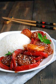 Свинина в остром соусе, пошаговый фото рецепт, кулинарный блог andychef.ru