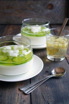 Йогуртово-огуречное желе с лаймовым соусом, пошаговый фото рецепт, кулинарный блог andychef.ru